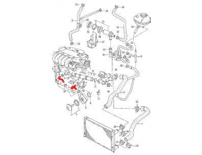 Durite échangeur eau huile Volkswagen Golf III vr6 12v aaa abv 2.8L 2.9L