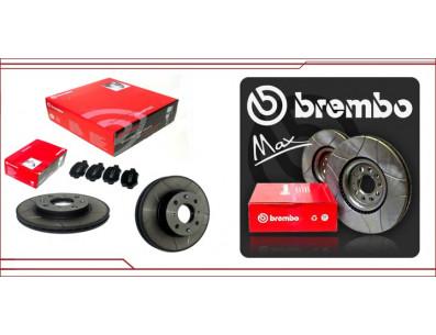 2 Disques de frein avant BREMBO Max + plaquettes G60 rainurés en 280x22mm