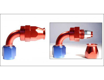 Raccord 90° DASH 4 an4 - série 200 - bleu et rouge