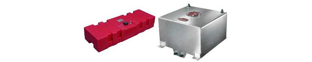 Réservoir d'essence en aluminium et rigide ainsi que réservoirs tampon