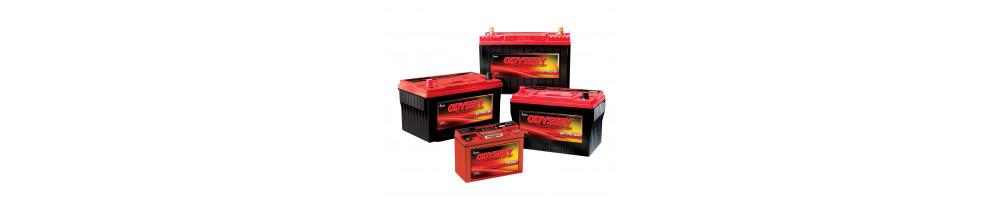 Batteries de compétition et leurs accessoires.